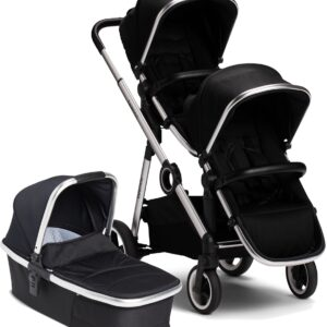 Beemoo Twin Travel+ 2020 Syskonvagn, Black